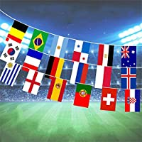 World Flags Fabric Bunting Football World Cup 9M 32 Flags Indoor Outdoor Pennant Banner for Nation Party Bar Garden Decoration