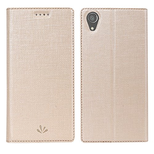 Sony Xperia XA1 Plus Hülle,Eactcoo Dünn Premium PU Leder klappbares Folio Flip Case Book TPU Cover Bumper Tasche Mit Standfunktion Magnetverschluss Kartenfach Wallet Handyhülle (XA1 Plus, Gold)
