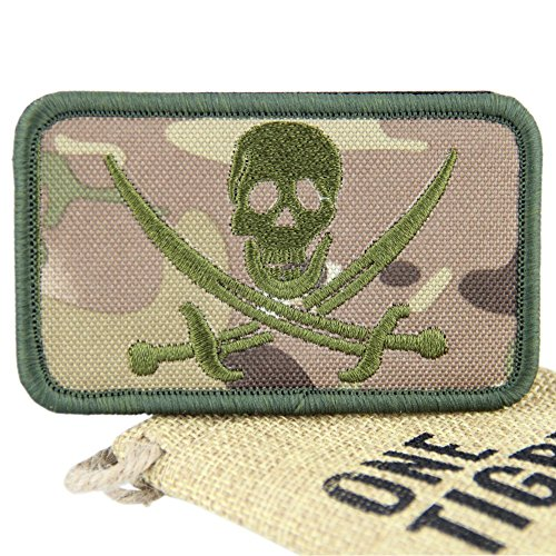 "OneTigris Velcro Patch militare tattico morale Patch Su Teschio, ""Skull Pirate"""