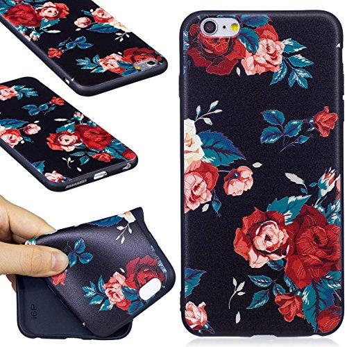 Silicone Custodia per iPhone 7/iPhone 8 (4.7), EUWLY Colorato 3D Modello Style Protettiva TPU Custodia Cassa per [iPhone 7/iPhone 8 (4.7)], Nero Protettiva Cover Case Ultra Sottile Morbida Silicone  Fiore Rosso