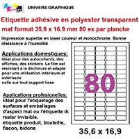 800 Ex Tiquette Adhsive En Polyester Transparent Mat Laser 356 X 169 Mm 80 Tiquettes Par Planche Soit 10 Feuilles Pour Imprimante Autocollant