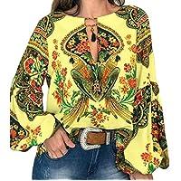 CRYYU Women's Print Round Neck Lantern Sleeve Long Sleeve T-Shirt Blouse Top Yellow 2XL