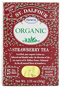 ST. DALFOUR Organic Tea, Strawberry, 1.75-Ounce Bags, 25-Count Boxes (Pack of 6)