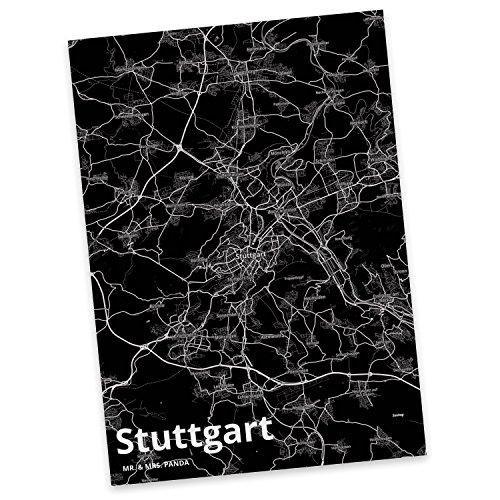 Mr. & Mrs. Panda Postkarte Stadt Stuttgart Stadt Black - Stadt Dorf Karte Landkarte Map Stadtplan Karte, Sprüche, Fan, Fanartikel, Souvenir, Andenken, Fanclub, Stadt, Mitbringsel