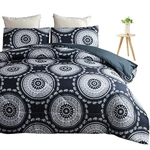 PomCo Bohemia Boho Mandala Queen Bettdecken-Set 228,6 x 228,6 cm, 3-teiliges Set aus Mikrofaser, Elefanten-Medaillon (1 Schmusetuch und 2 Kissenbezüge), exotisches Bettdecken-Set Art Deco Boho-Black