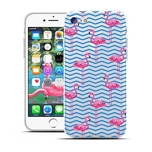 HULI Design Case Hülle für Apple iPhone 7 Handy im Flamingo Design - Handyhülle aus TPU Silikon - Schutzhülle klar mit Animal Tier Muster - Transparent und Slim für Dein Smartphone