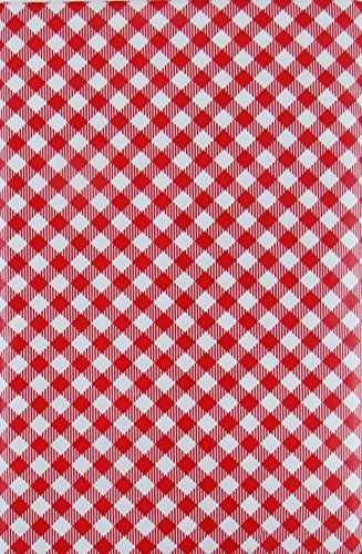 (130cm x 180cm Oblong, Red) - Gingham Small Cheque Bias with Zipper Umbrella Hole Vinyl Flannel Back Tablecloth (Red, 130cm x 180cm Oblong) - Rot Vinyl Zipper