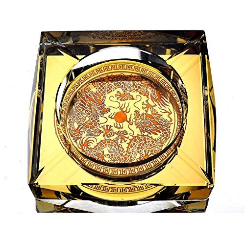 LHOME Cenicero de Cristal Chapado en Oro de Lujo