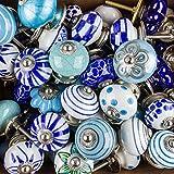Keramik Vintage Antik Porzellan Shabby Chic Vintage Möbelknopf Möbelknöpfe blau, türkisblau, türkisgrün - Wühltischangebot - Griffe, Knäufe, Schrank, Schublade, Kommode