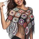 MCYs Damen Sommer Hollow Stitching Quasten Unregelmäßigen Badeanzug Bikini Strand mit Blumen Mustern bedrucken Badeanzug Cover-Up (Schwarz)