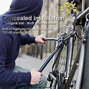 XIAOKOA Las luces traseras de la bicicleta alarma antirrobo inteligente alarma de carga USB llevó luces de alarma de advertencia de flash láser para las bicicletas de la montaña, del MTB y del camino
