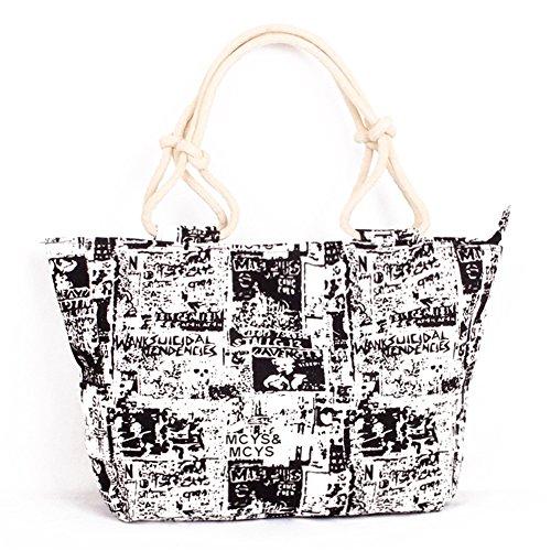 Fortunings JDS® Moda tela stampata stile cinghie di corda della borsa tote libro nero bianco Realmente Descuento nZDQe