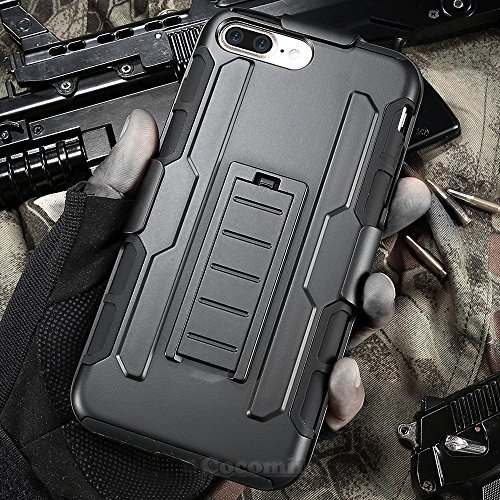iPhone 8 Plus / 7 Plus Funda, Cocomii Robot Armor NEW [Heavy Duty] Premium Belt Clip Holster Kickstand Shockproof Hard Bumper Shell [Military Defender] Full Body Dual Layer Rugged Cover Case Carcasa Apple (Black)