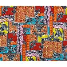 """Multicolor Material De Confección Artesanal Indio 46 """"De Ancho De Tela De Algodón Por El Patio"""