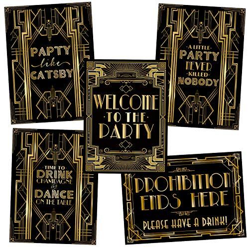 """Musykrafties Party-Poster im Stil von """"Der große Gatsby"""", Schilder, A3, 40,6x 30,5cm 5-in-set"""
