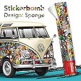 Stickerbomb Auto Folie: Alle Größen - eine Auktion - Marken Sticker Bomb Logos- JDM Aufkleber (100x150cm, Design: Neu - bunt glänzend)