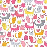 Cat tela por metro, diseño de gatos, color rosa y amarillo Media - rk209 - by Robert Kaufman - 100% algodón