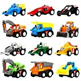 Pull Back Vehicles,12 Pack Assorted Construction Vehicles and Raced Car Toy,Yeonhatoys Vehicles Truck