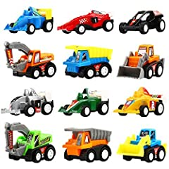 Idea Regalo - YEONHATOYSMacchinine Giocattolo con Molla Set di 12 Pezzi Assortiti, Camioncini, Scavatori e Mini Macchine da Corsa per Bambini e Ragazzi.Corrono Davvero