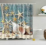 GWELL Top Qualität Anti-Schimmel Duschvorhang Digitaldruck inkl. 12 Duschvorhangringe für Badezimmer Art-H 180x200cm