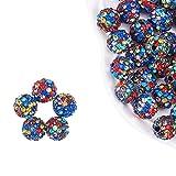 nbeads 100PCS Multicolore pavé Perles Perles Disco, 10mm Argile Strass Cristal Shamballa Perles pour la Fabrication de Bijoux Bricolage