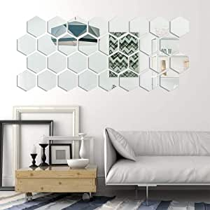 Allouli 12PCS Hexagon Acrylic Mirror Setting Wall Stickers Silver Decal Mirrored Self Adhesive Removable