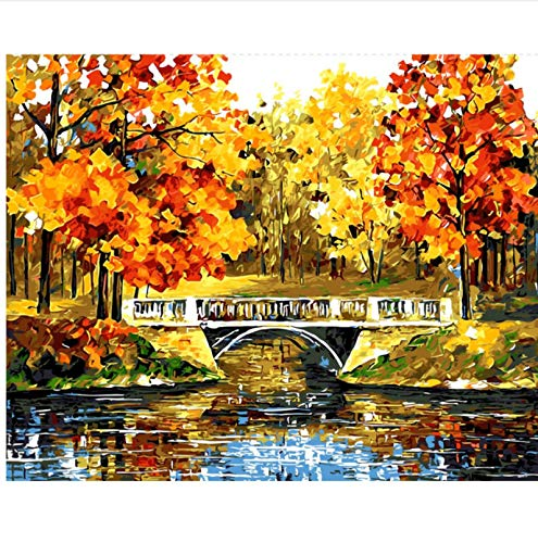 Yangll Painting by Numbers Lake Landscape Red Orange Sugarbush In The Park Drawing by Numbers Digital Oil Painting Home Decor Wall Art Pictures by Numbers , No Framed40X50cm