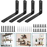 AFASOES 4 Stks Heavy Duty Plank Beugels Metalen Wandbeugels voor Planken Driehoek Rekken Beugel Zwart Smeedijzeren Wandmontag