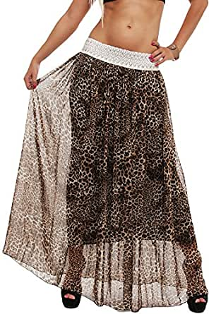 10085 Fashion4Young Damen Maxirock Chiffon-Material Rock skirt verfügbar in 3 Farben Gr. 36/38/40 (One Size 36 38 40, Leo-2)