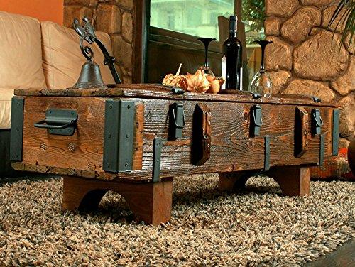 Alte Truhe Kiste Tisch shabby chic Holz Beistelltisch Holztruhe Couchtisch Länge 120 cm Höhe: 38 cm Tiefe: 38,5 cm