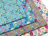 4er Stoffpaket Baumwolle mit fantasievollem Giraffen und