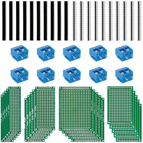 Anpro 20Stk 5x7 4x6 3x7 2x8CM Double Side Lochrasterplatte Lochrasterplatine Leiterplatte Platine PCB Universal Board Screw Terminal (Gutes Board)