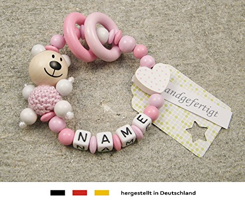 kleinerStorch Baby Greifling Beißring geschlossen mit Namen | individuelles Holz Lernspielzeug als Geschenk zur Geburt & Taufe | Mädchen Motiv Bär und Herz in weiss