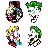 Joker Harley Quinn Face, Original Artwork - Enamel Pin Set (4 Piece)