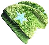 Wollhuhn Warme Beanie-Mütze in grün mit hellblauen Sternen, Wellnessfleece, 34771429, Größe: XS: KU 42/46 (ca 6 Mon. bis 2 Jahre)