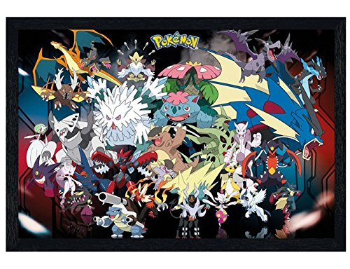 Pokemon in schwarzes Holz eingerahmtes Mega Evolutions Maxi Poster 61 x 91,5 cm (Ds-mega-ruby)