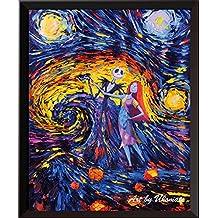 uhomate Jack Sally Jack y Sally pesadilla antes de Navidad Noche estrellada de Vincent van Gogh carteles casa lienzo aniversario regalos bebé regalo guardería Decor sala de estar decoración de la pared A005, 8x10 inch