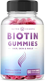 Biotin Gummies 10,000mcg [Highest Potency] for Healthy Hair, Skin & Nails for Adults & Kids - 5000mcg in Each Gummy Vitamin -