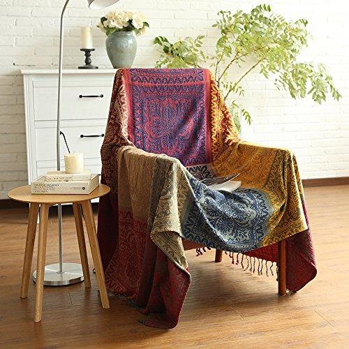 ele ELEOPTION Chenille Überwurf Decke, Jacquard Quasten Überwurf Decke Sofa Stuhl Bezug Dekorative für Bett Couch, Sessel, Folk Tribal Muster, rot, 150 x 190 cm (Chenille Bettdecke)