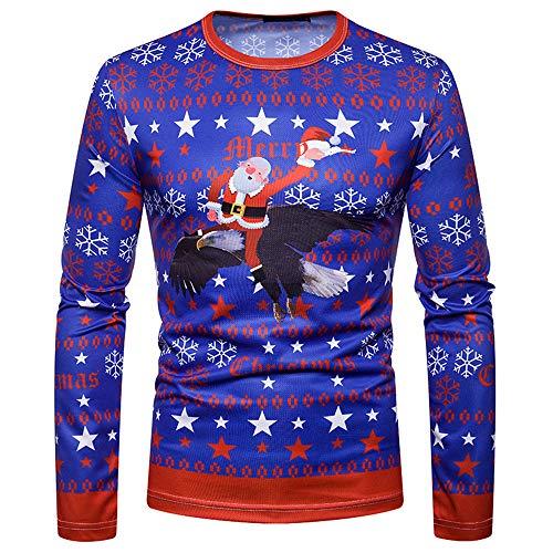 Camisas Hombres, BBestseller Camiseta de Cuello Redondo Casual para Navidad Imprimiendo Pullover de Manga Larga de Blusa Sweatshirts Jersey Kimonos