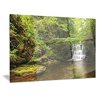 Artdesign Designart Water Flowing Over Rocks-L &Scape Photo Metal Wall Art-MT6791-28x12