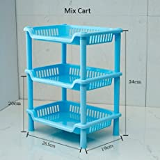 Mix Cart Vegetable Rack Storage Household Office Rack Storage Stand Color ; White+Pink