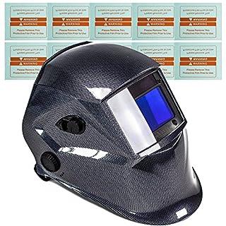 awm WH02C Automatik Schweißhelm + 10x Ersatzgläser Schweißschirm Carbon Schweißmaske Solar Schweißbrille
