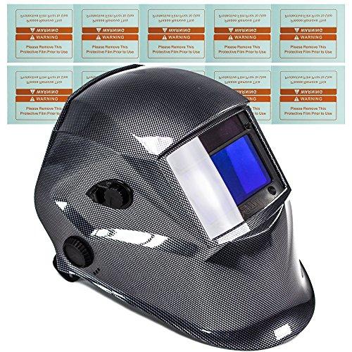 awm WH02C Automatik Schweißhelm + 10x Ersatzgläser Schweißschirm Carbon Schweißmaske Solar Schweißbrille - Carbon Entflammbar X-schwer