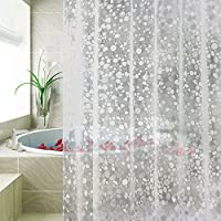 Carttiya Rideau de Douche EVA Semi Imperméable Anti-moisissure, PVC Free 12 Anneaux de Rideaux 180x 180 cm (Transparent)