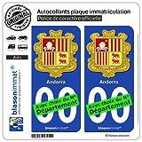 2 Stickers autocollant plaque immatriculation auto : Andorre - Armoiries