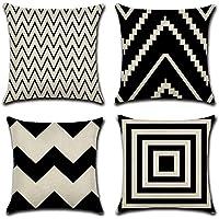 HuifengS Fundas de almohada cuadradas de lino decorativas para sofás o camas, juego de 4 fundas de cojín, 45,7 x 45,7 cm