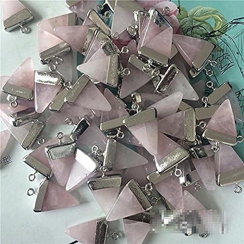 Natürliche Galvani Steine ??Rosa Kristall-Dreieck-Ohrringe 17 * 23mm , platinum plating