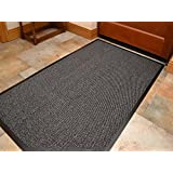 Think-Louder Anti Slip Rubber Outdoor Floor Mat, Entrance barrier Rugs Home Kitchen Office Door runner in all colors and sizes 40x60/60x90/60x180/90x150/120x180 - GREY 60X90