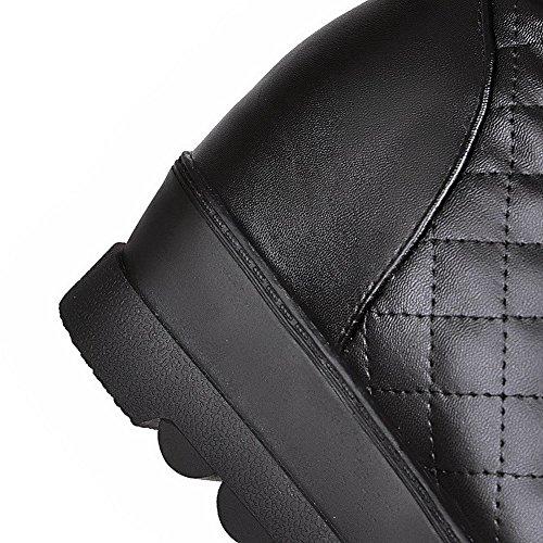 AgooLar Femme Haut Élevé Tire Plate-Forme Étanche Rond Bottes Noir